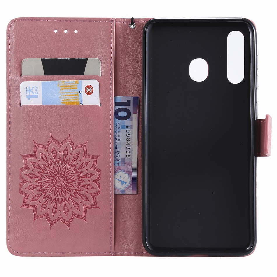 Simple Leather Phone Covers sFor Samsung Galaxy M10 M20 A10 A20 A30 A40 A50 A70 S10E S10 Plus A8S 2018 Mandala Stand Cases D06Z in Wallet Cases from Cellphones Telecommunications