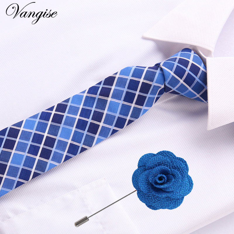 For Men Gift  Plaid  Pattern Tie Classic Men's Necktie Formal Business Office Group Ties Male Cotton Skinny Slim Ties&pin Set