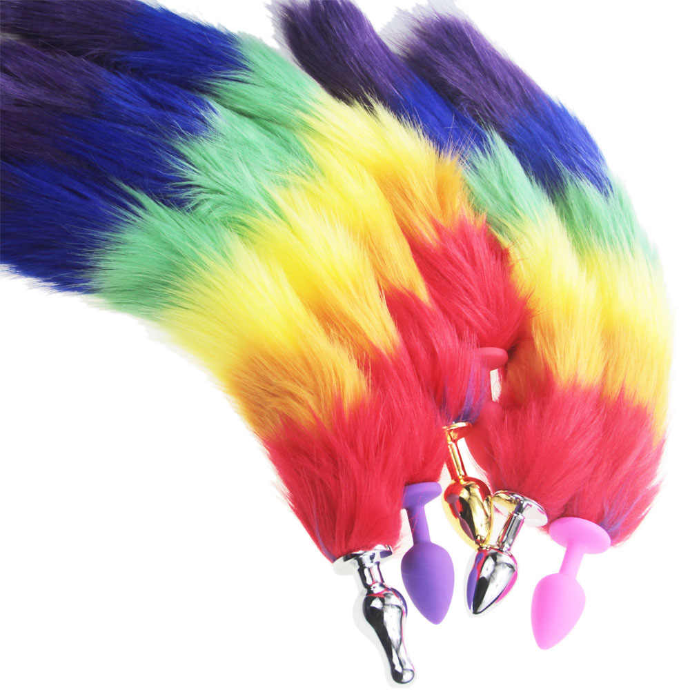 57fdef63d01 ... rainbow Fox Tail DOG TAILS Butt Anal Plug Sex Toy BULLET buttplug G  SPOT roleplay Dog