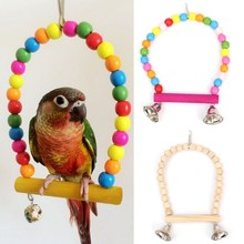 Two Styles Wooden Parrot Bird Swing Toy Perch Bells Parakeet Cockatiel Budgie Lovebird Toy Brinquedos Supplies Cage Pet Product