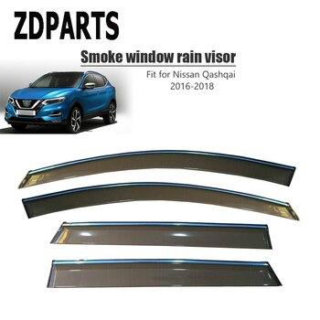 ZDPARTS 4Pcs/Set Car Wind Deflector Sun Guard Rain Wind Vent Visor Cover Trim Accessories For Nissan Qashqai J11 2016 2017 2018