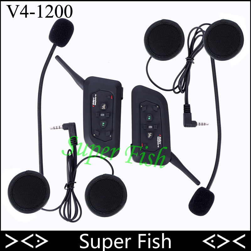 2pcs 2017 V4 Bluetooth Wireless Helmet Intercom Headset 4 Riders 1200M Motorcycle Helmet Interphone With FM Radio 2pcs bt s2 intercom 1000m motorcycle helmet bluetooth wireless waterproof headset intercom earphone 2 riders interphone fm radio