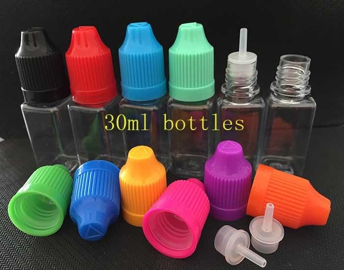 500pcs Square Bottle Essential Oil 30ml empty Bottle Plastic Dropper E liquid Bottle With Childproof Safety