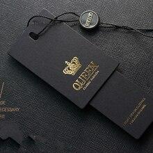 100 набор, 0,8 мм, толщина, королевское пятно, поставка, черная специальная бумага, горячее штамп, железные золотые бирки для одежды с веревкой, сделай сам, принадлежности