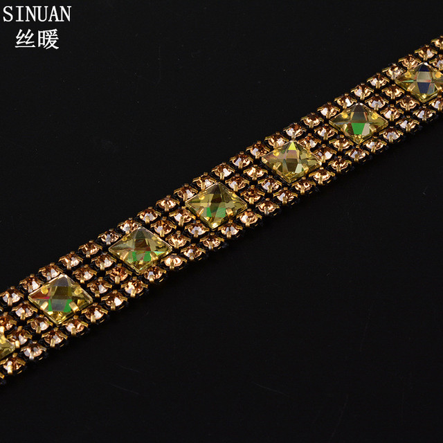 SINUAN Rhinestone Applique Trim Tape Rhinestones Gold Strass Stone Glass  Crystal Applique For Dresses Garment Diy Rhinestones eabde7cc8ed1