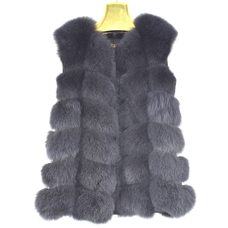 Jacket Vest Coat Real-Fox-Fur Women Luxury Thick Solid-Color Fashion Warm