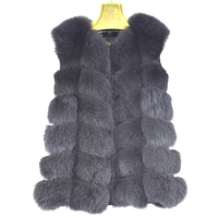 2018 New Real Fox fur Women Vest Leather Fashion Luxury Thick Warm Coat Jacket Solid Color Fur Vests Women Coats