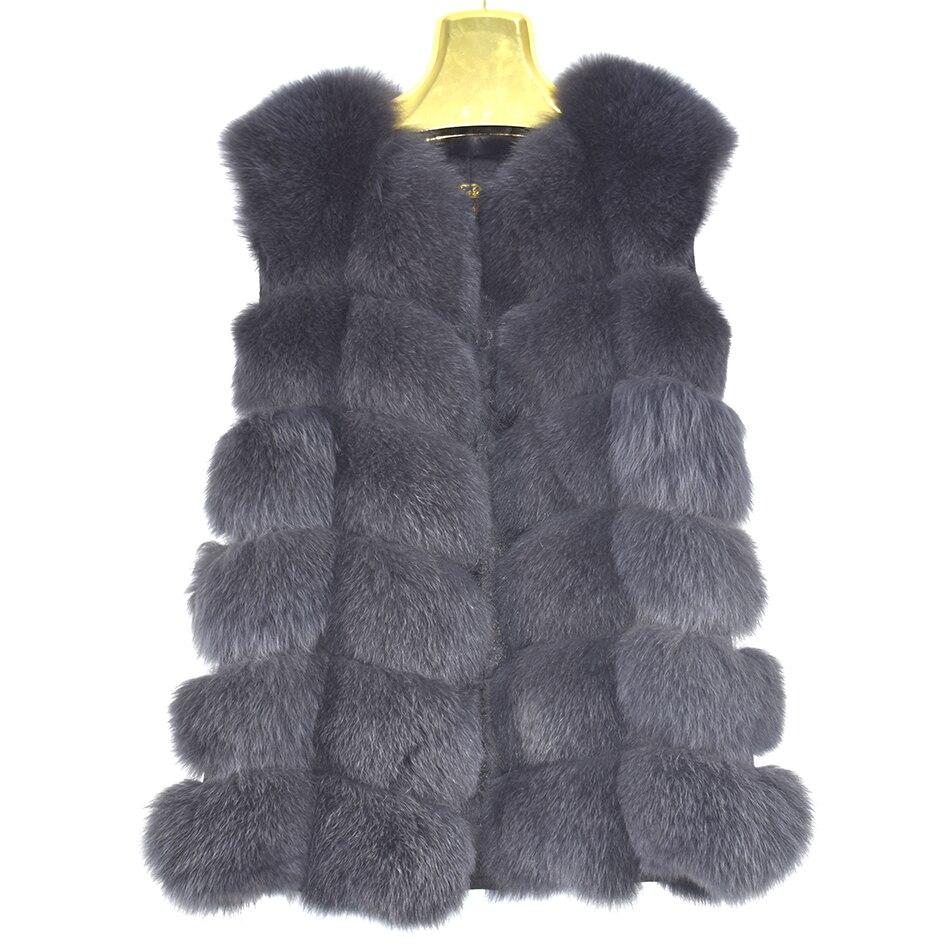 2018 nuevo Real Fox fur mujeres chaleco moda de lujo de cuero chaqueta gruesa capa caliente piel de color sólido chalecos de mujer