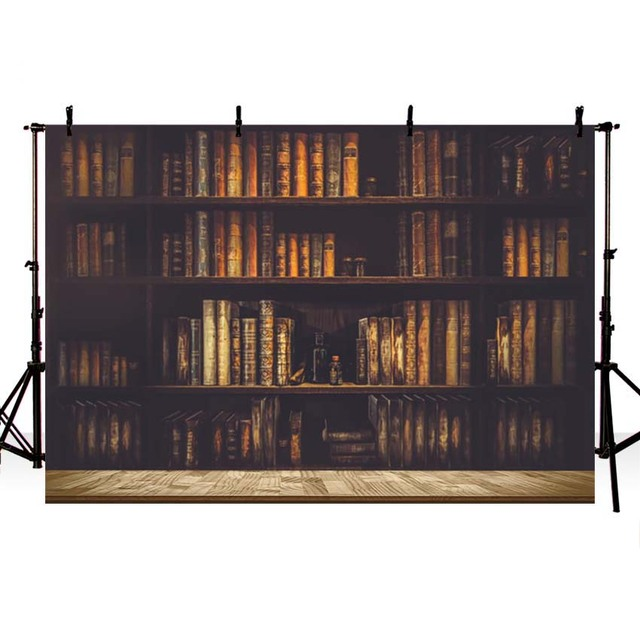 Comphoto Full Books Bookshelf Scene Photography Backgrounds Vinyl School Photo Backdrops For Studio Customized
