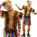 Clown summer style personality slim male vest men punk feather rainbow costumes hombre chalecos singer dance stage star novelty