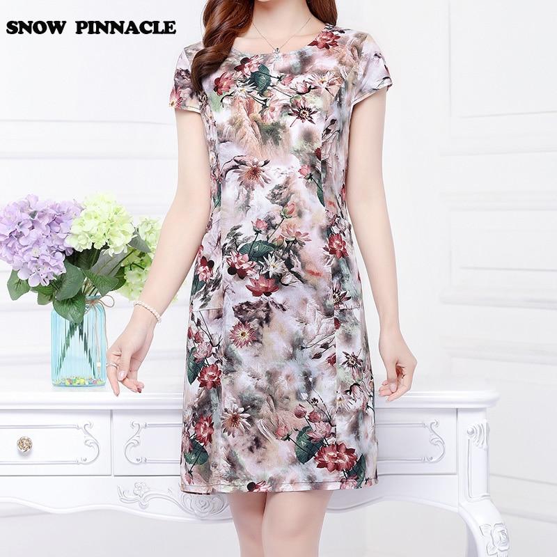 Nieve pinnacle 2017 summer dress plus size impreso algodón vestidos delgados for