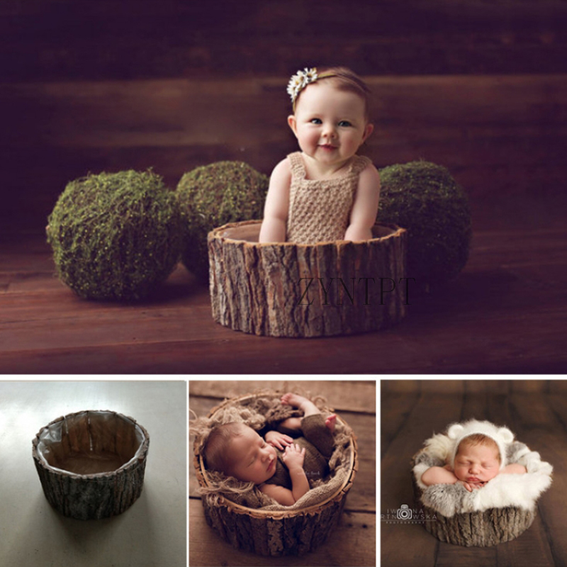 Wool Bark Bucket Photoshoot Baskets For Newborn Photography Props Baby Photo Shoot Wooden Stuffer Basket Fotografia Accessories