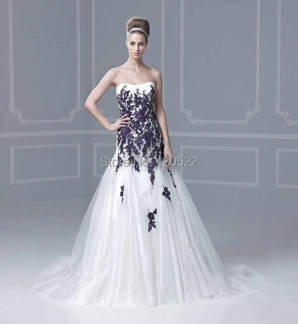 Free Shipping WE 1889 Strapless Tulle And Lace Purple And White Wedding  Dresses Two Tone Wedding Dress Purple And White In Wedding Dresses From  Weddings ...