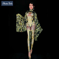 Christia Bella золото Стразы комбинезон для женщин пикантные Трико Большой рукав сценические костюмы певица одежда для выступлений танцор