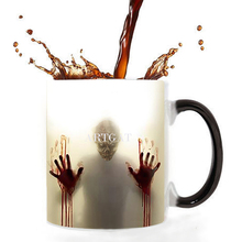 The walking dead coffee mugs heat Color changing tea cup Magic Mug gift zombie head double sides printing Dropshipping baldr earth mark cup tetris the heat change thermal color mugs