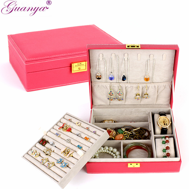 guanya 2 Layers Large PU leather Jewelry Box Velvet Display Organizer Storage box necklace rings earings brand box girl Gift