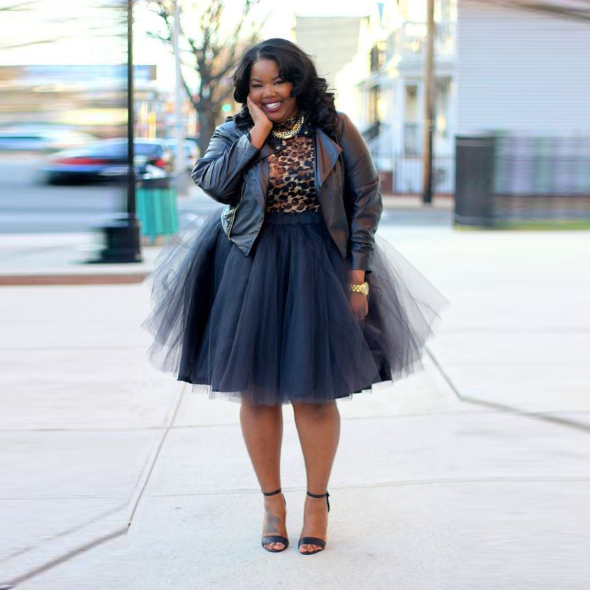 Fashion Street Style Plus Size Tulle Skirt A Line Knee -9321