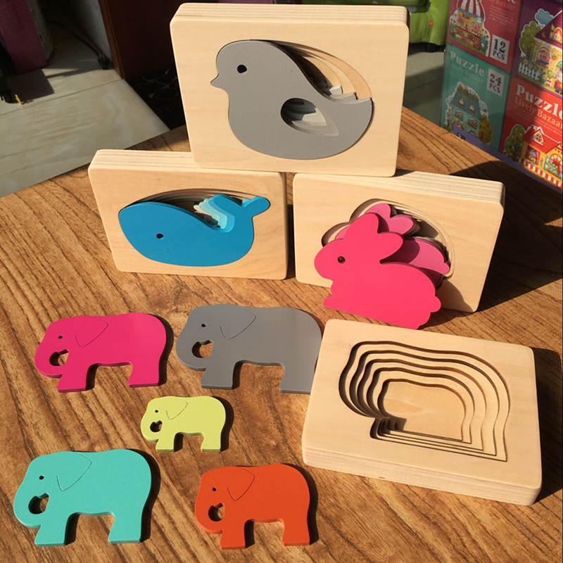Candywood New Wooden Toys For Children Animal Carton 3D Puzzle Multilayer Jigsaw Puzzle Baby Toys Child Early Educational Aids