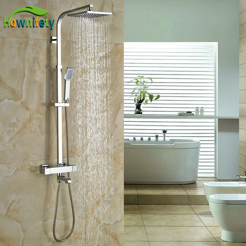 New Arrival Bath Rainfall Shower Set Faucet Thermostatic Shower Chrome Polish Exposed
