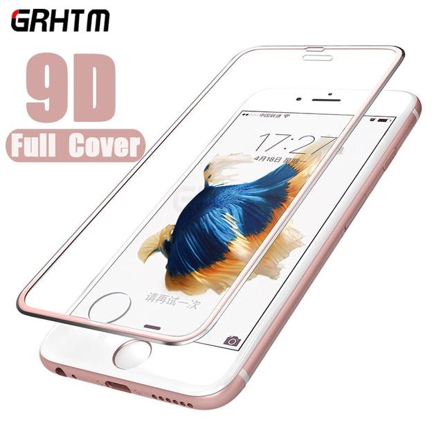 Protector de pantalla completo 9D para iPhone, Protector de pantalla de vidrio templado de aleación de aluminio para iPhone 6 6S 7 8 Plus 11 X XS Max XR 5 SE 5S