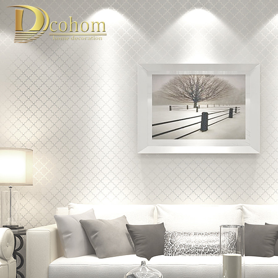 Luxury metallic trellis square geometric striped wallpaper - Wall texture ideas for living room ...