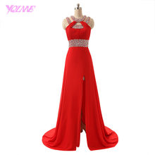 fdb65d5f62 YQLNNE Cheap Red Long Prom Dresses Slit Chiffon Crystals Beaded Evening  Party Dress Vestido De Festa