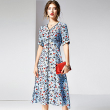 Dress Summer Silk Women 2019 New Floral 100% Natural Silk Printed V-Neck Short Sleeves Slim A-Line Elegant Dress Midi S-XXL lace dress women elegant 2019 spring summer new stripes printed round neck three quarter sleeved slim a line midi dress s xxl