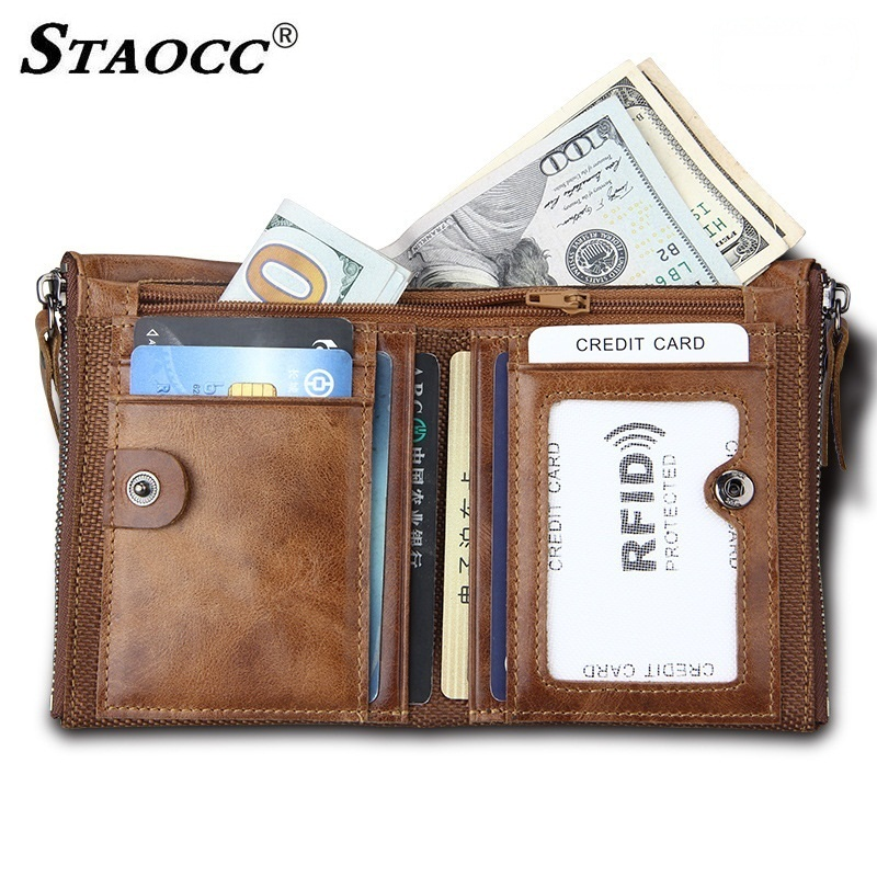 Vintage RFID Genuine Leather Wallet Men Short Zipper Purse Thin Small Wallet Money Bag Card Holder Men Coin Pocket Wallets 2018
