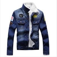 M 3XL 2017 New Warm Denim Jacket Mens Jeans Jacket Coat Good Quality Brand Clothing Winter