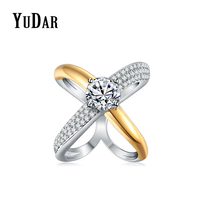 YUDAR New Crossover Two Tone 8mm CZ Promise Engagement Wedding Ring Best Gifts Rings Bridal Jewelry
