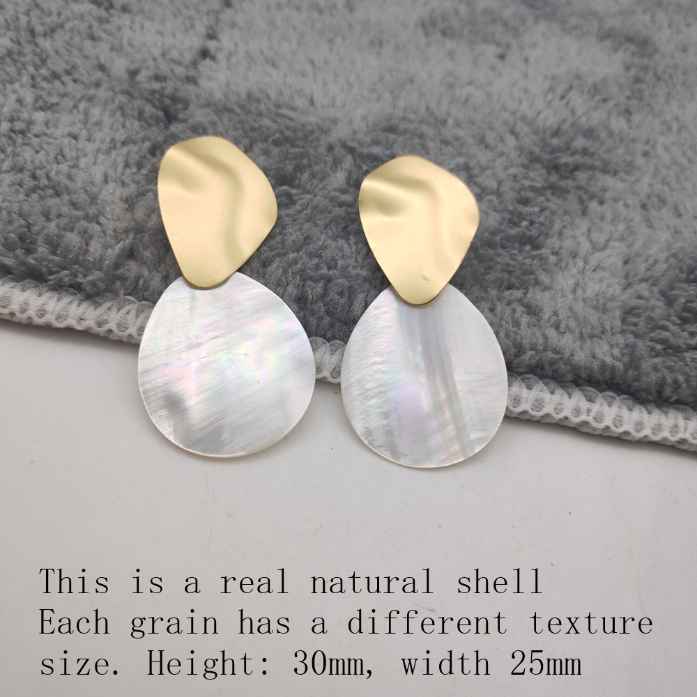 Fashion Wedding Jewelry Hanging Natural Shell Pearl Geometric Earrings High Quality Natural Shell Pendant Earrings for women P40 40