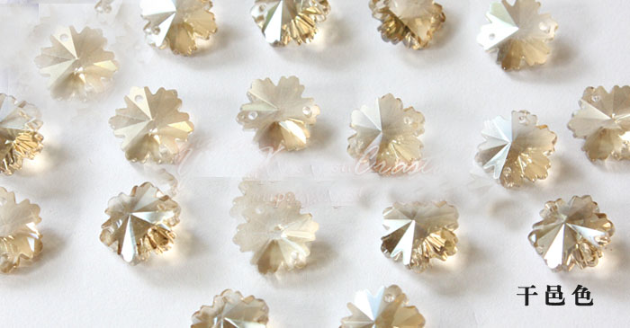 1000pcs 14mm Cognac color K9 Crystal Snowflower Beads in 2 holes Crystal chandelier parts,diy beads curtain accessories decor