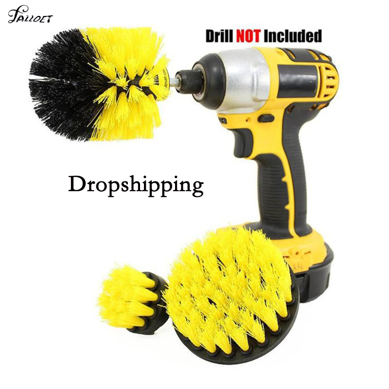 3Pcs/Set Electric Drill Brush Set Round Cleaning Brush for Carpet Glass Car Tires Nylon Brushes Power Scrubber Drill Tool