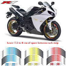 Hot sell Motorcycle 1set front&rear edge rim 17inch wheel decals Reflective stickers For YAMAHA YZFR1