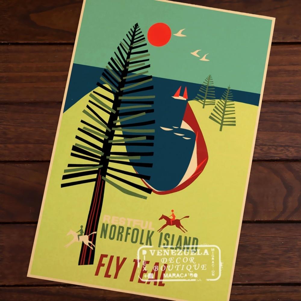 Restful Norfolk Island Pop Art New Zealand NZ Vintage Retro Canvas ...