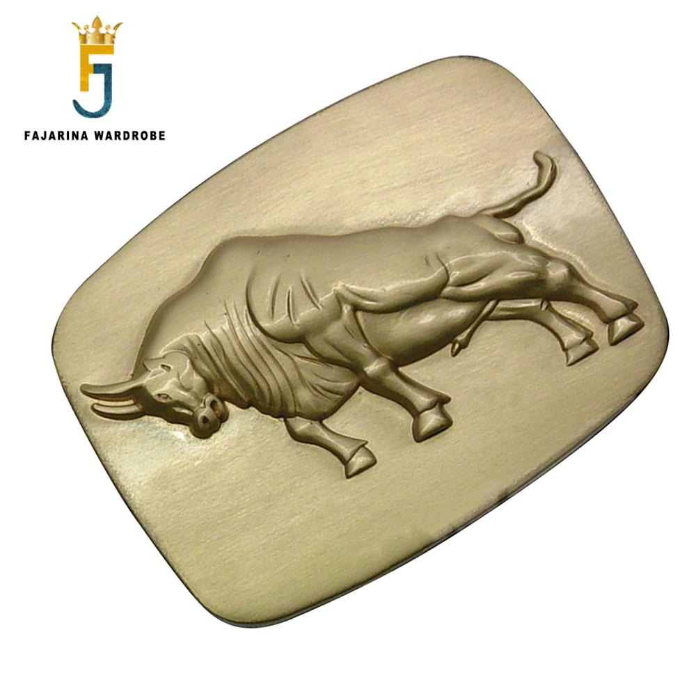FAJARINA Men's Design 3D Cattle Animal Pattern Slide Styles Buckles Solid Brass Belt Buckle Only For 3.6-3.9cm Wide Belts BCK004