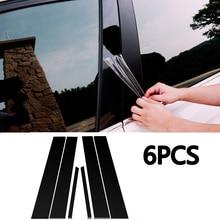 цена на 6pcs Mirror Effect PC Plastic Window Pillar Posts Cover Trim  For Honda Civic Sedan 2006 2007 2008 2009 2010 2011 Black