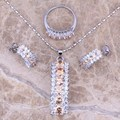 Fascinating Champagne Morganite White CZ Silver Jewelry Sets Earrings Pendant Ring Size 6 / 7 / 8 / 9 / 10  S0152