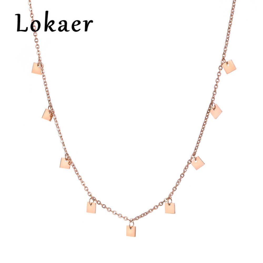 Lokaer Stainless Steel 9 Small Square Pieces Choker Necklace Rose Gold Color Jewelry Fashion Gift N18274