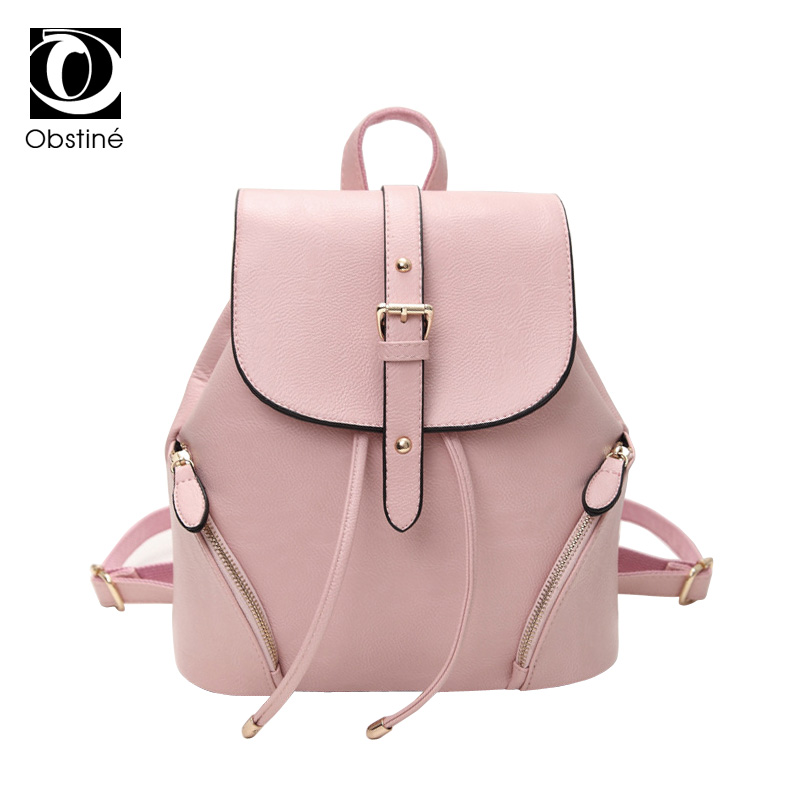 2018 Female Backpack Women Pu Leather High Quality Preppy Style Pink Backpacks for School Teenagers Girls Drawstring Bagpack Bag canvas backpack women dot school bag for teenagers girls preppy style composite bags set travel high quality female backpacks