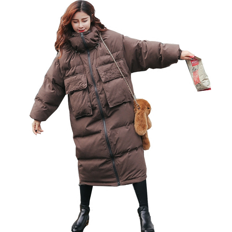 Oversized Loose Fashion Thick Long Solid Color Parka Cotton Padded Coat Warm Winter Coat Women BF Winter Jacket Wadded TT3450 winter loose bf large size padded jacket women hooded cotton warm coat parka long outerwear solid color women coat tt3249
