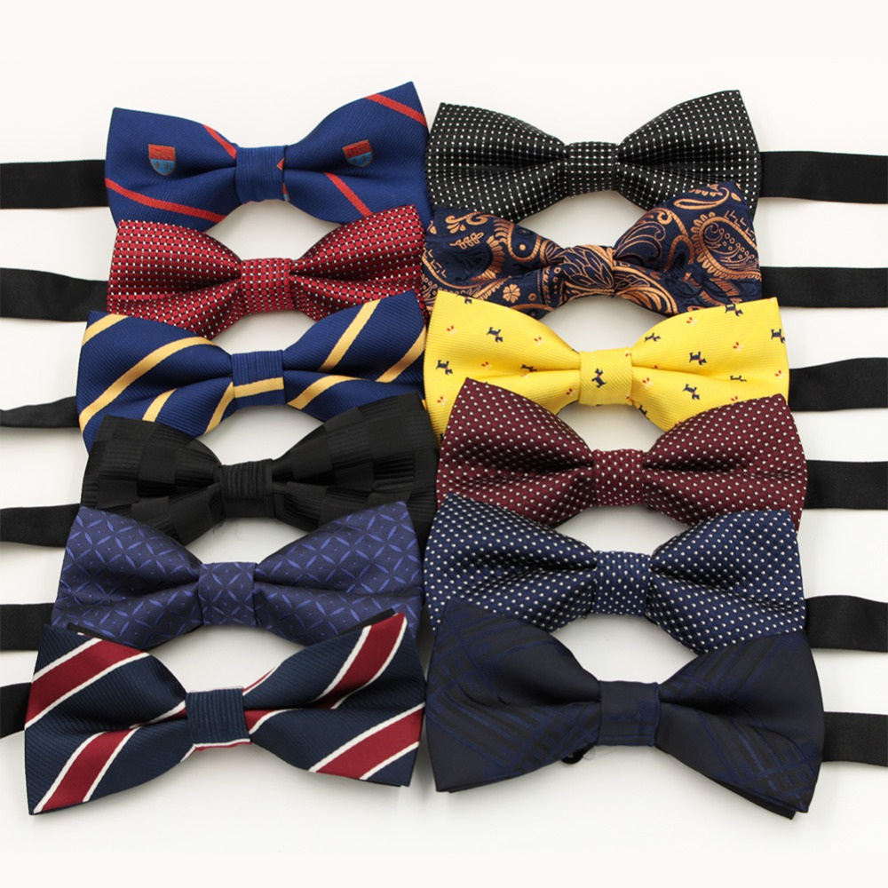 VEEKTIE 1 Piece Fashion Brand Bow Ties For Men Wedding Polyester Paisley Pattern Butterfly Striped Dots Plaid Bowtie 12colors