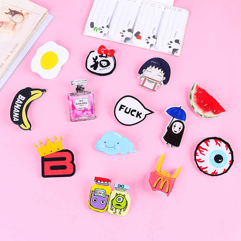 1 pcs Fashion Girl Acrylic Art Badge Cartoon Student Backpack Clothes Decor Dress Brooch Decoration Strap Badge Free Shipping