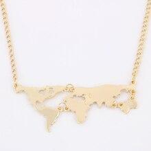 Nuevo Oro de La Manera Plateó el Mundo Mapa Colgante de Collar Para Las Mujeres Joyería Fina 8675