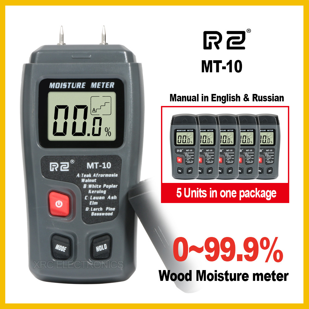 RZ 5PCS Retail package MT10 Portable Wood Moisture Meter Hygrometer Timber Tree Density Digital Electrical Tester Measuring tool portable pin type wood moisture meter mc7806