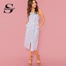 Sheinside Button Front Vertical Stripe Cami Dress Spaghetti Strap Sleeveless Knee Length Dresses Women Summer Casual Dress