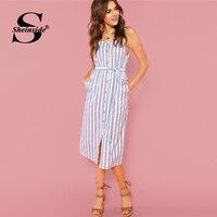 7f1131fafa6 Sheinside Button Front Vertical Stripe Cami Dress Spaghetti Strap  Sleeveless Knee Length Dresses Women Summer Casual