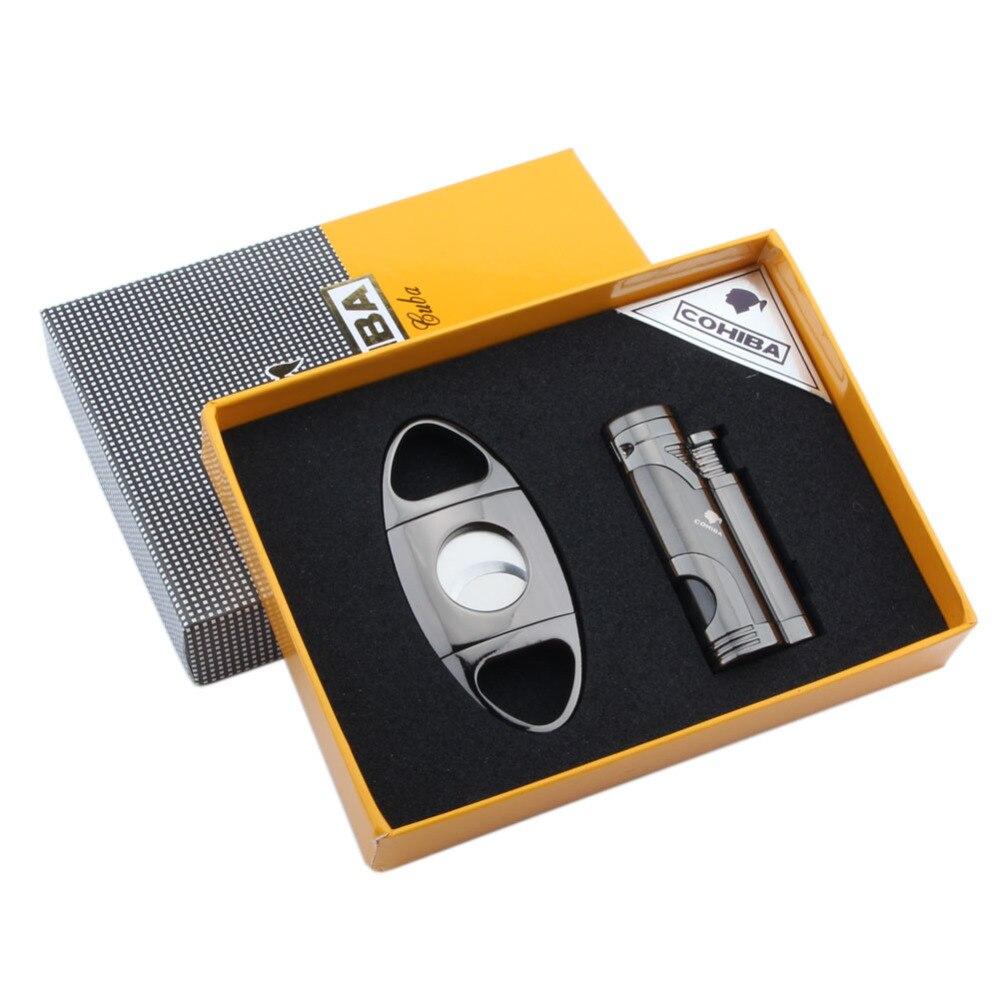 COHIBA Portable 3 Torch Cigarette Lighter & Cutter Amazing Gas Butane Lighter Cigar Cigarette Set With a Gift Box