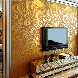 Image 3 - Moderne Abstrakte Luxus 3D Wallpaper Rolle Wand Beflockung Kurve Gestreiften Non Woven TV Sofa Hintergrund Wand Papier für Wände Lila