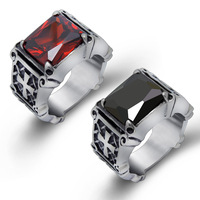 Titanium Steel 316L Fashion Punk Men S Ring Retro Red Jewel Finger Ring Female Silver Plated